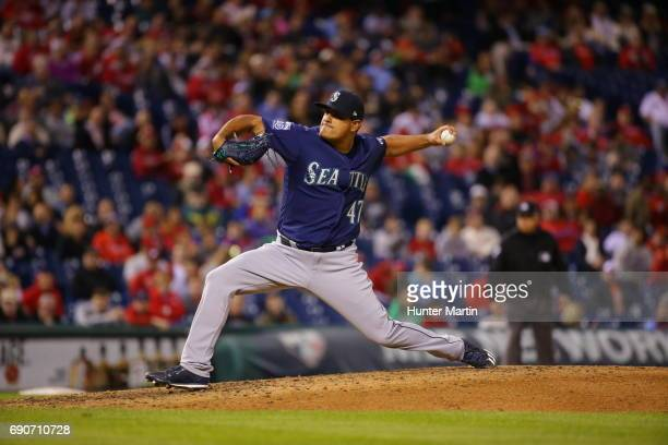 James Pazos of the Seattle Mariners throws a pitch during a game against the Philadelphia Phillies at Citizens Bank Park on May 9 2017 in...