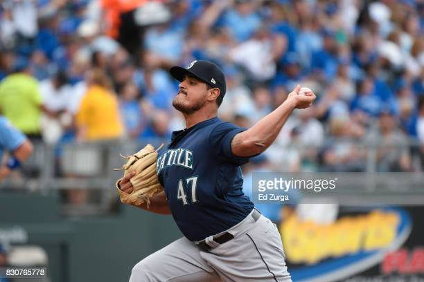 James Pazos of the Seattle Mariners throws against the Kansas City Royals in game one of a doubleheader at Kauffman Stadium on August 6 2017 in...