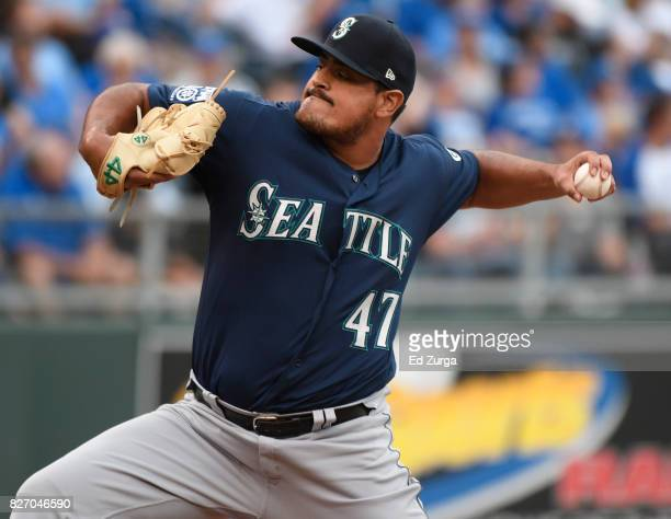 James Pazos of the Seattle Mariners throws in the fifth inning against the Kansas City Royals in game one of a doubleheader at Kauffman Stadium on...