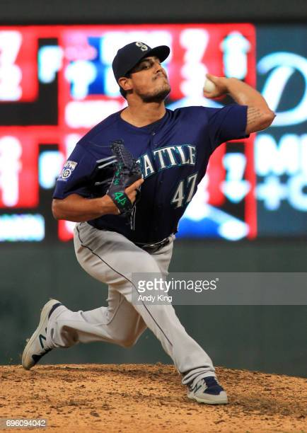 James Pazos of the Seattle Mariners throws to the Minnesota Twins in the sixth inning of their baseball game on June 14 2017 at Target Field in...