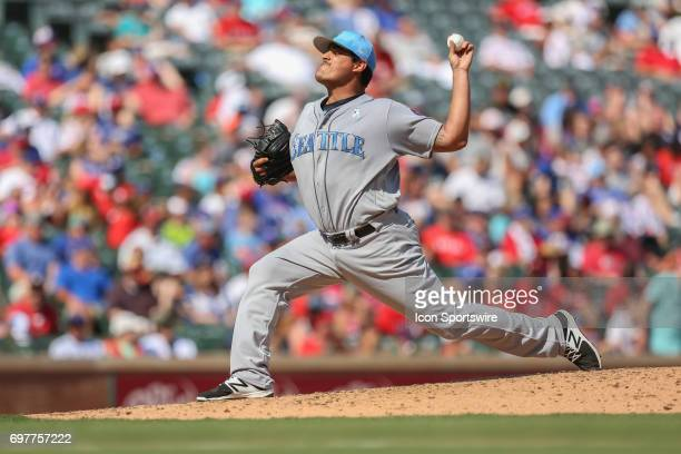 James Pazos pitches in the game between the Seattle Mariners and the Texas Rangers on June 18th 2017 at Globe Life Park in Arlington Tx