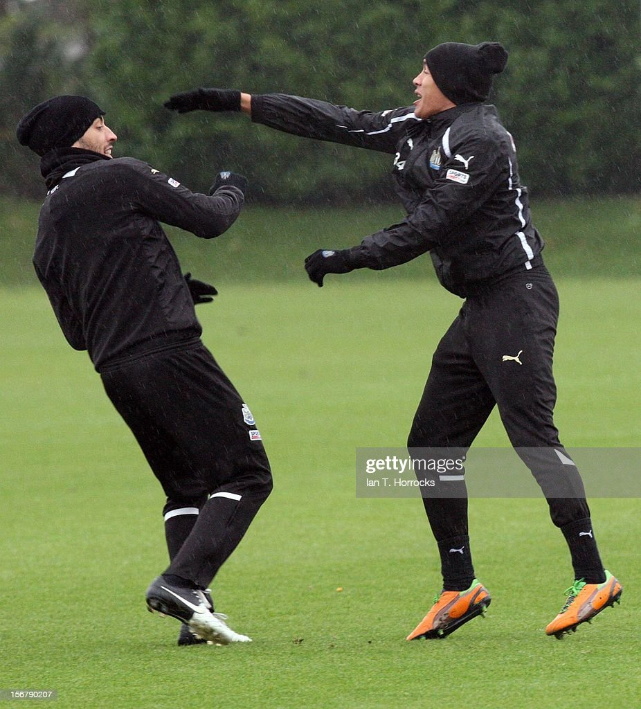 James Perch (right) and James Tavernier fun fight during a Newcastle United training session at the Little Benton training ground on November 21, 2012, in Newcastle upon Tyne