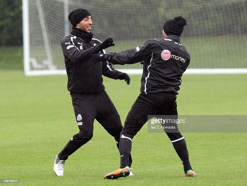 James Perch (left) and James Tavernier fun fight during a Newcastle United training session at the Little Benton training ground on November 21, 2012, in Newcastle upon Tyne