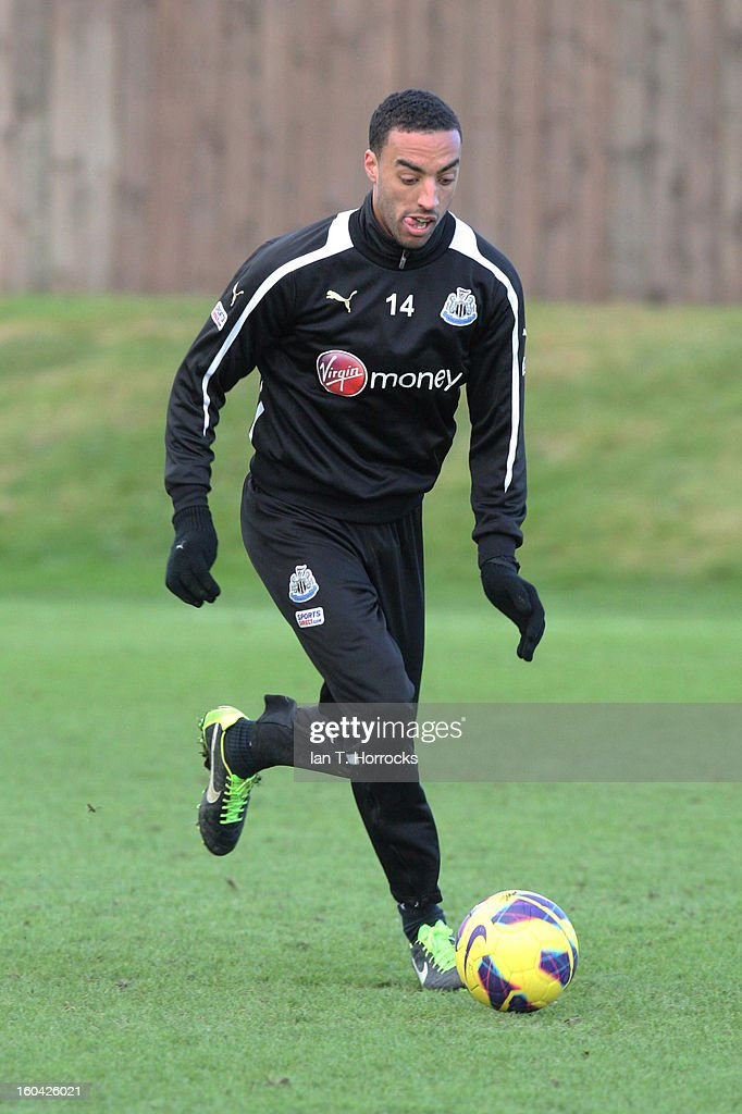 James Perch during a Newcastle United training session at The Little Benton training ground on January 31, 2013 in Birmingham, England.
