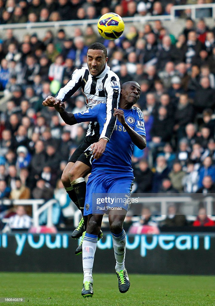 James Perch (L) of Newcastle in action with Ramires of Chelsea during the Premier League match between Newcastle United and Chelsea at St James Park on February 2, 2013 in Newcastle, England.