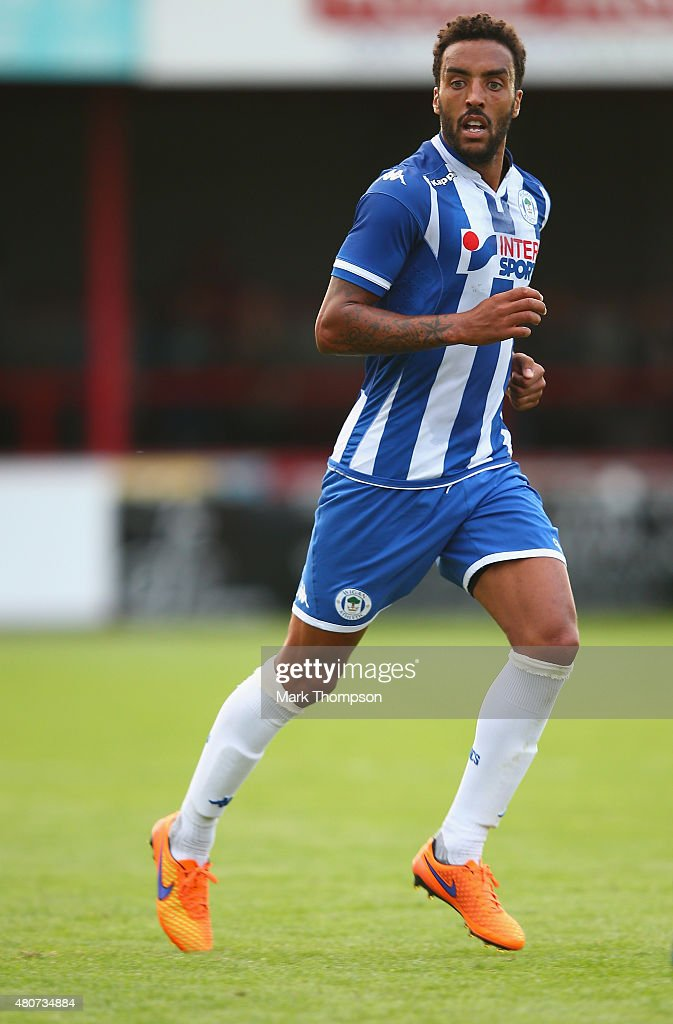 <a gi-track='captionPersonalityLinkClicked' href=/galleries/search?phrase=James+Perch&family=editorial&specificpeople=2211397 ng-click='$event.stopPropagation()'>James Perch</a> of Wigan Athletic in action during the pre season friendly between Altrincham and Wigan Athletic at the J Davidson stadium on July 14, 2015 in Altrincham, England.