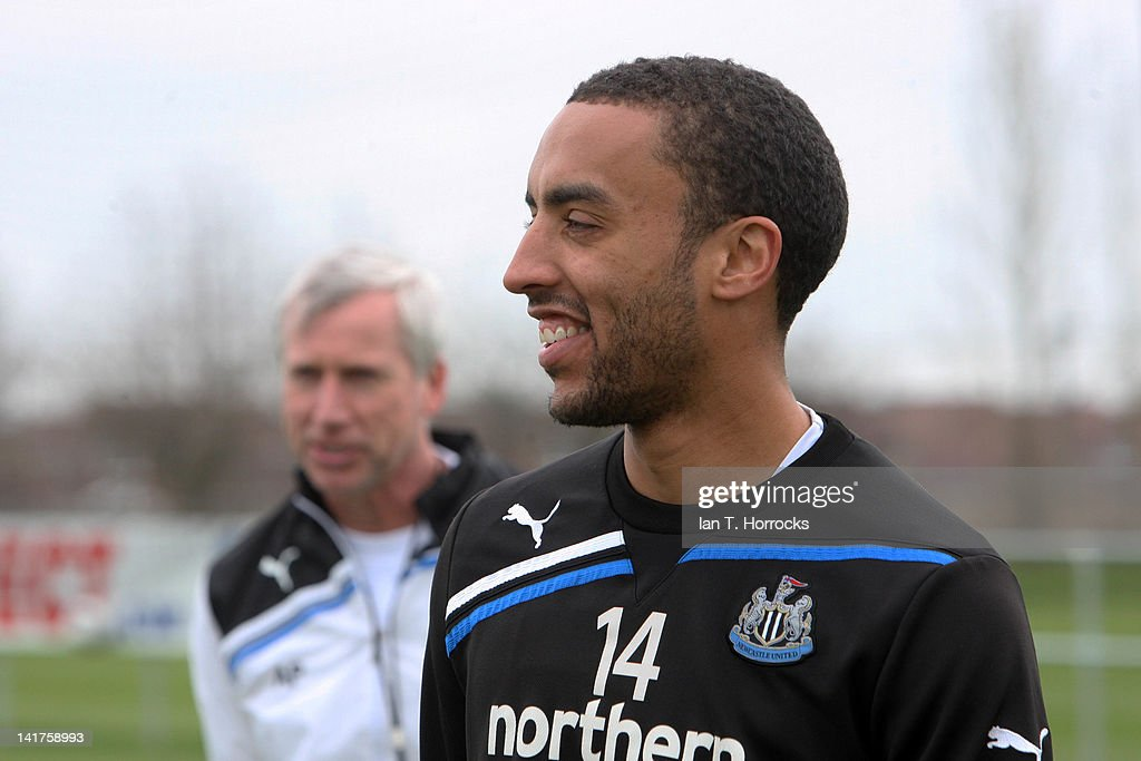 <a gi-track='captionPersonalityLinkClicked' href=/galleries/search?phrase=James+Perch&family=editorial&specificpeople=2211397 ng-click='$event.stopPropagation()'>James Perch</a> smiles during a Newcastle United Training Session at The Little Benton Training Ground on March 23, 2012, in Newcastle upon Tyne, England.