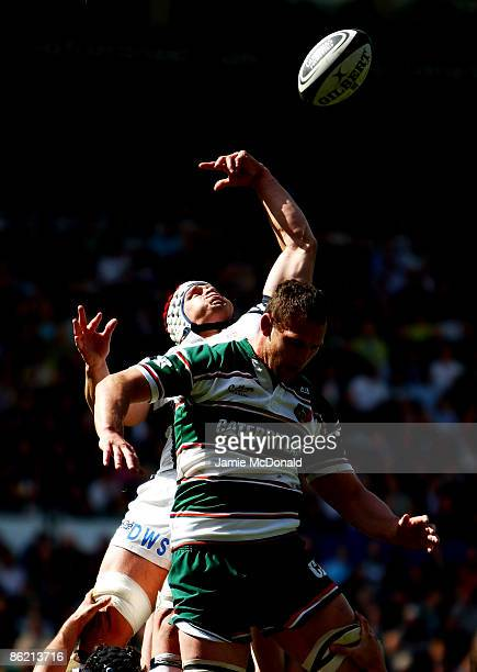 James Phillips of Bristol beats Julian White of Leicester Tigers to the ball in a lineout during the Guinness Premiership match between Leicester...