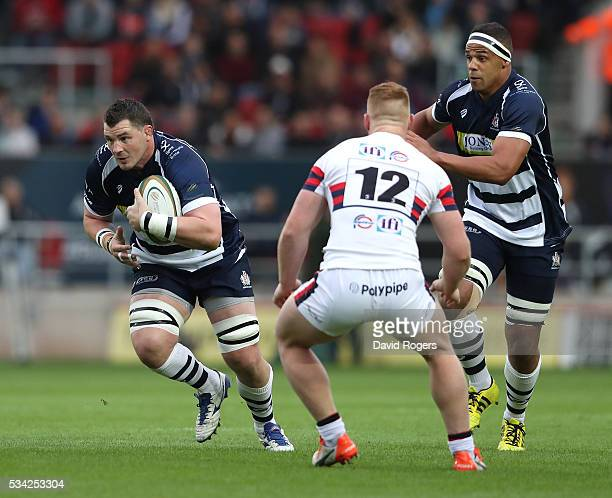 James Phillips of Bristol breaks with the ball during the Greene King IPA Championship Play Off Final second leg match between Bristol and Doncaster...
