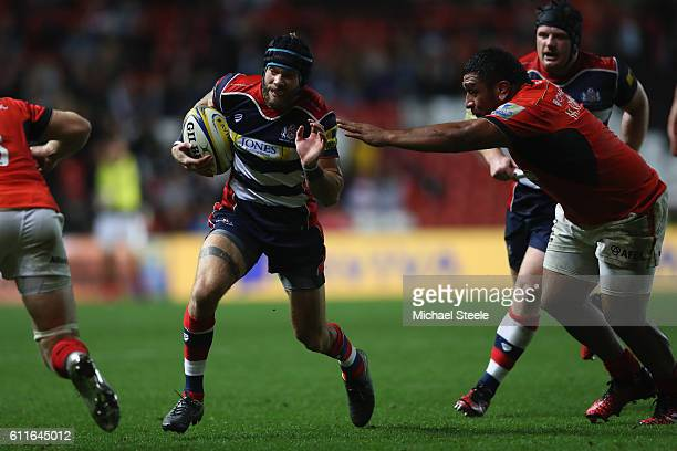 James Phillips of Bristol goes past the challenge of Mako Vunipola of Saracens during the Aviva Premiership match between Bristol Rugby and Saracens...