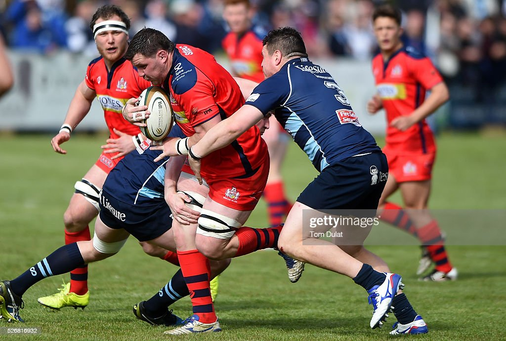 James Phillips of Bristol Rugby is tackled during the Greene King IPA Championship Play Off Semi Final first leg match between Bedford Blues and Bristol Rugby at Goldington Road on May 1, 2016 in Bedford, England. (Photo by Tom Dulat/Getty Images).