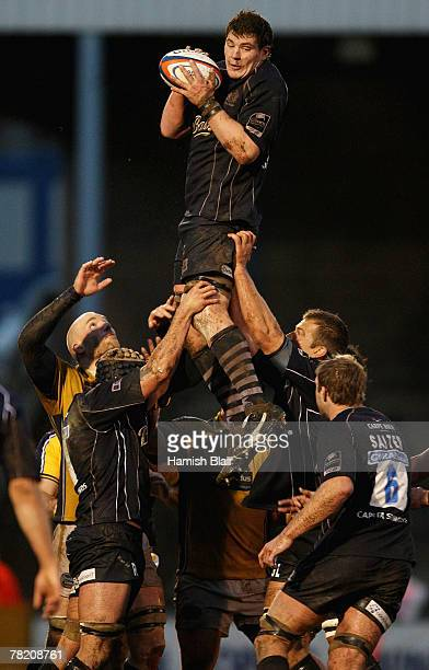 James Phillips of Bristol takes a line out during the EDF Energy Cup match between Bristol Rugby and Leeds Carnegie at the Memorial Stadium on...