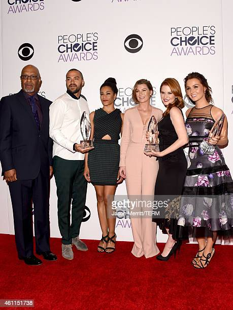 James Pickens Jr Jesse Williams Kelly McCreary Ellen Pompeo Sarah Drew and Camilla Luddington pose in the press room at The 41st Annual People's...