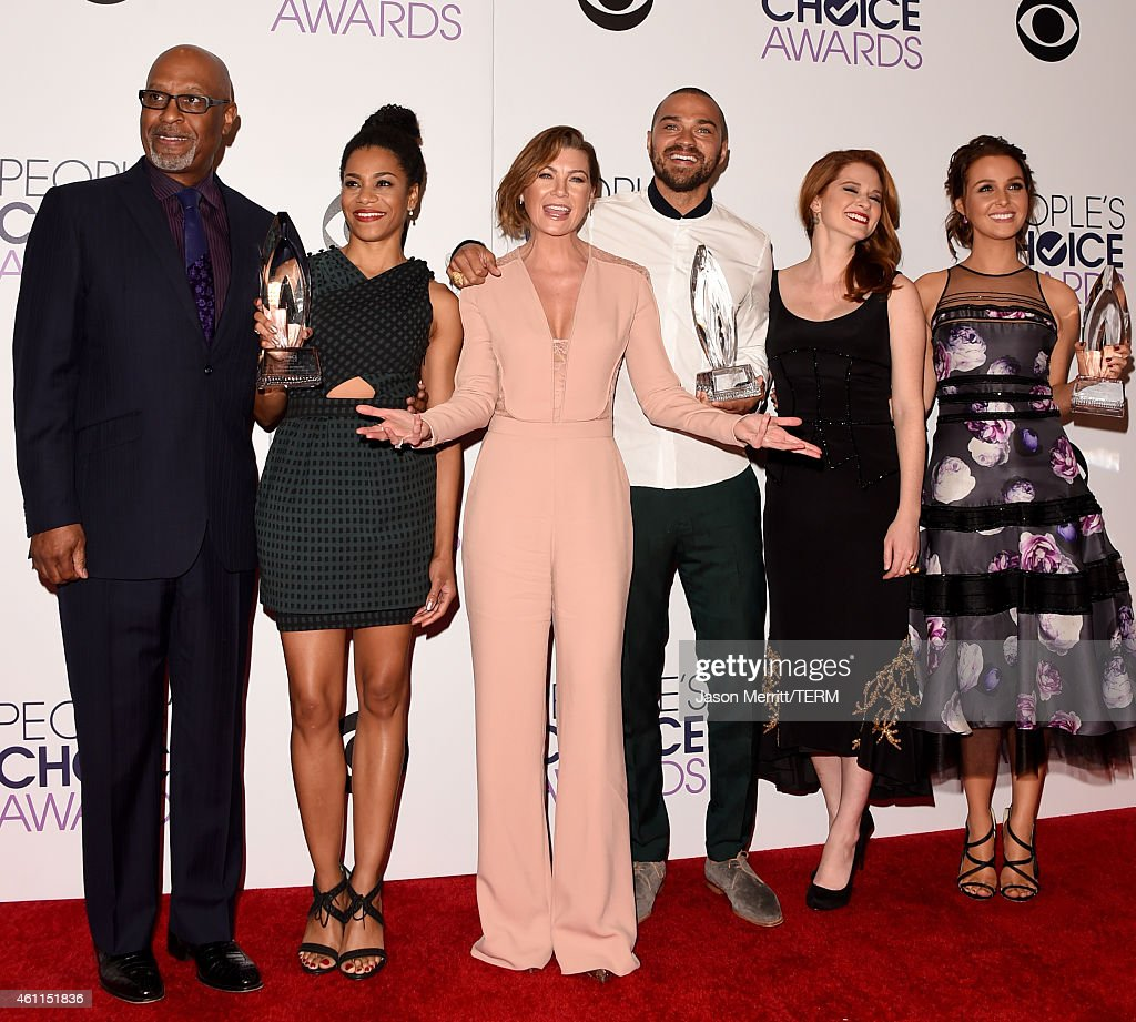 James Pickens Jr., Kelly McCreary, Ellen Pompeo, Jesse Williams, Sarah Drew and Camilla Luddington pose in the press room at The 41st Annual People's Choice Awards at Nokia Theatre LA Live on January 7, 2015 in Los Angeles, California.