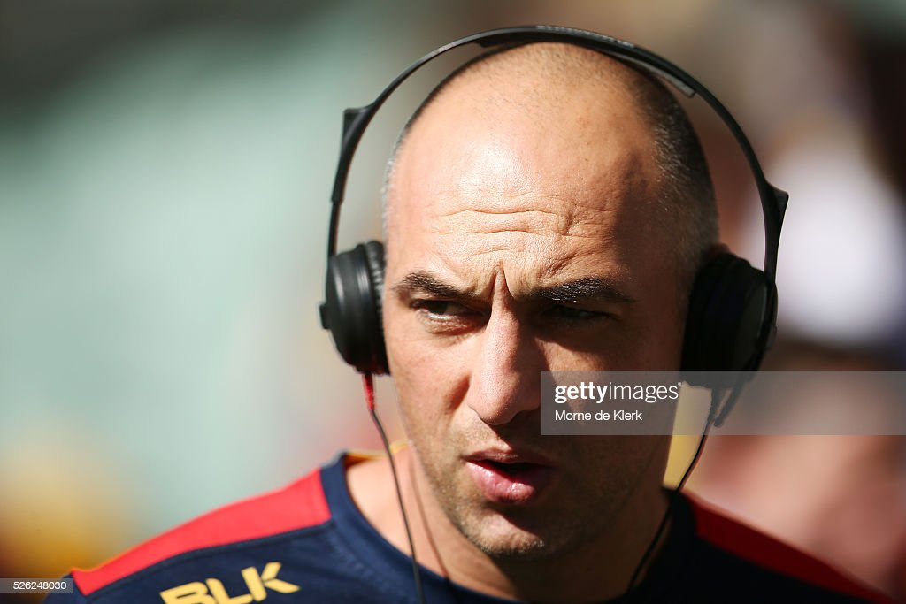 James Podsiadly of the Crows is interviewed before the round six AFL match between the Adelaide Crows and the Fremantle Dockers at Adelaide Oval on April 30, 2016 in Adelaide, Australia.