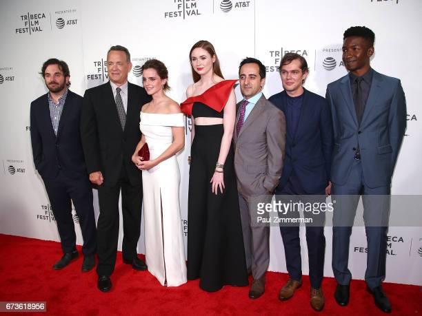 James Ponsoldt Tom Hanks Emma Watson Karen Gillan Amir Talai Ellar Coltrane and Mamoudou Athie attend the 2017 Tribeca Film Festival 'The Circle' at...