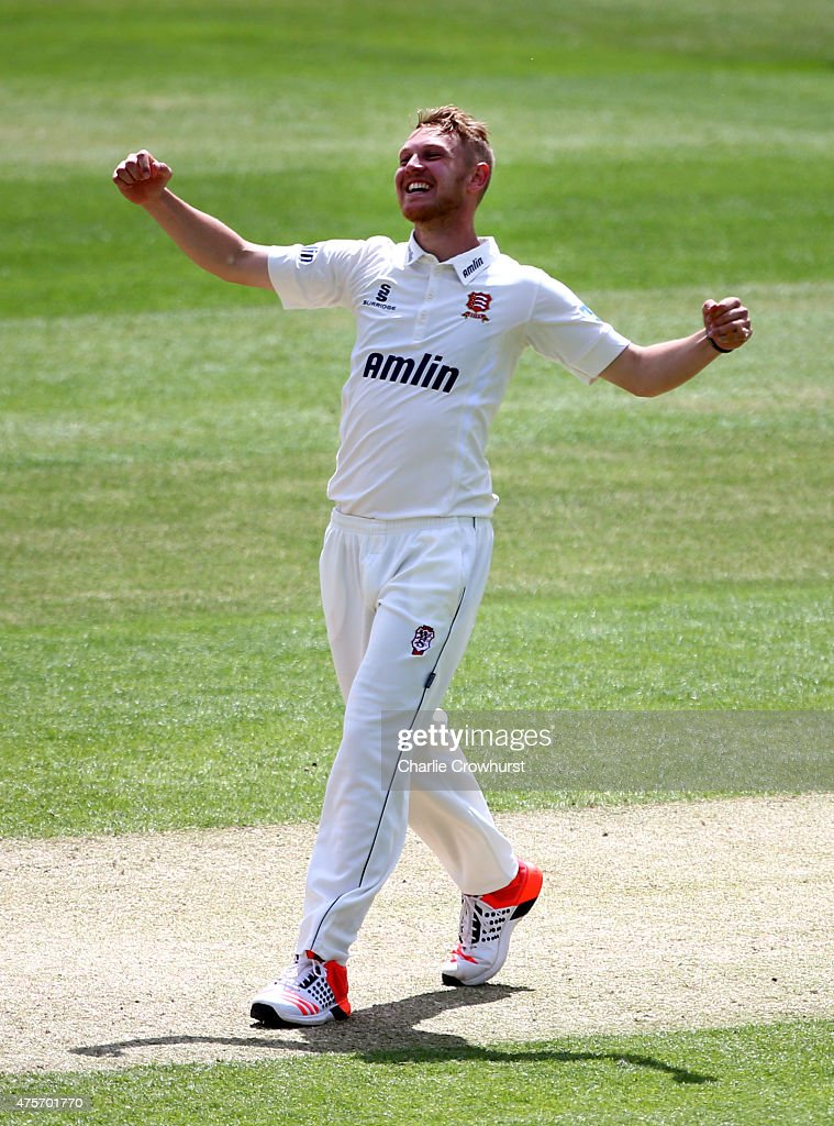 James Porter of Essex celebrates after taking the wicket of Angus Robson of Leicestershire during day four of the LV County Championship Division Two...