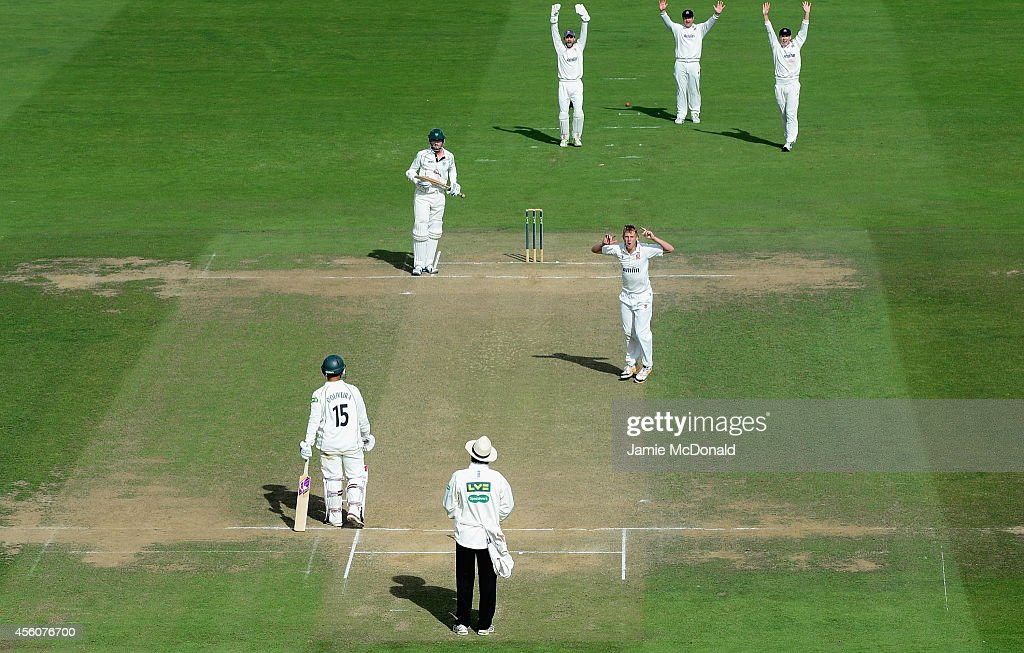 James Porter of Essex celebrates the wicket of Brett D'Oliveira of Worcestershire during the LV County Chapionship Division 2 match between Essex and...