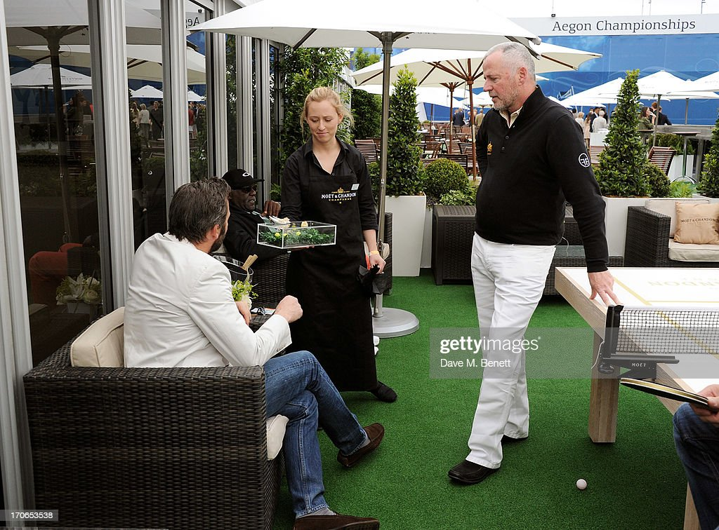 James Purefoy (L) and Aidan Quinn attend The Moet & Chandon Suite at The Aegon Championships Queens Club finals on June 16, 2013 in London, England.