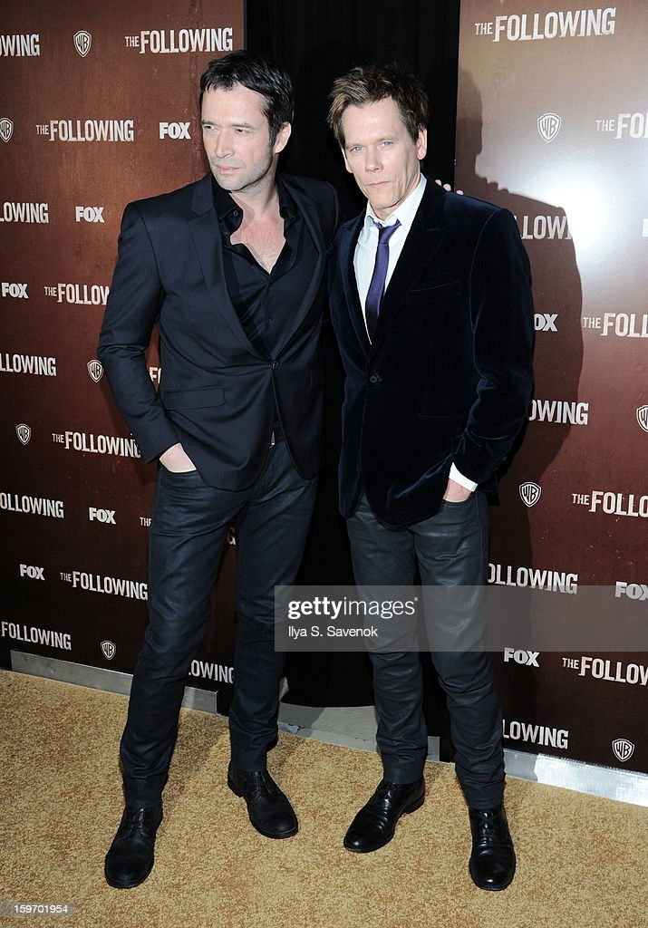James Purefoy and Kevin Bacon attend 'The Following' World Premiere at The New York Public Library on January 18, 2013 in New York City.