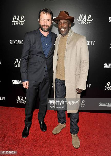 James Purefoy and Michael K Williams attend 'Hap and Leonard' Private Premiere Party at Hill Country BBQ on February 25 2016 in New York City