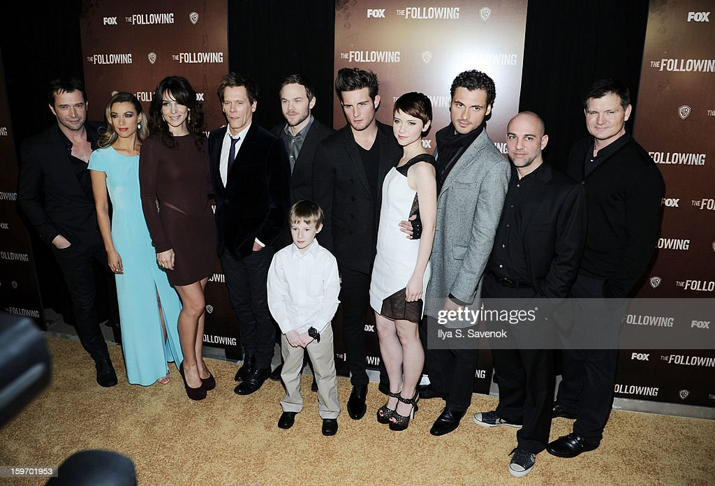 James Purefoy, Natalie Zea, Annie Parisse, Kevin Bacon, Shawn Ashmore, Kyle Catlett, Nico Tortorella, Valorie Curry, Adan Canto, Marcos Siega and Kevin Williamson attend 'The Following' World Premiere at The New York Public Library on January 18, 2013 in New York City.