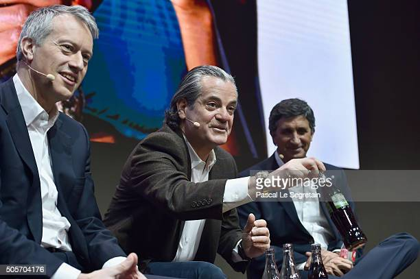 James Quincey Marcos De Quinto and Rodolfo Echeverria on stage during the CocaCola Launch of 'One Brand' Strategy 'Taste The Feeling' Creative...
