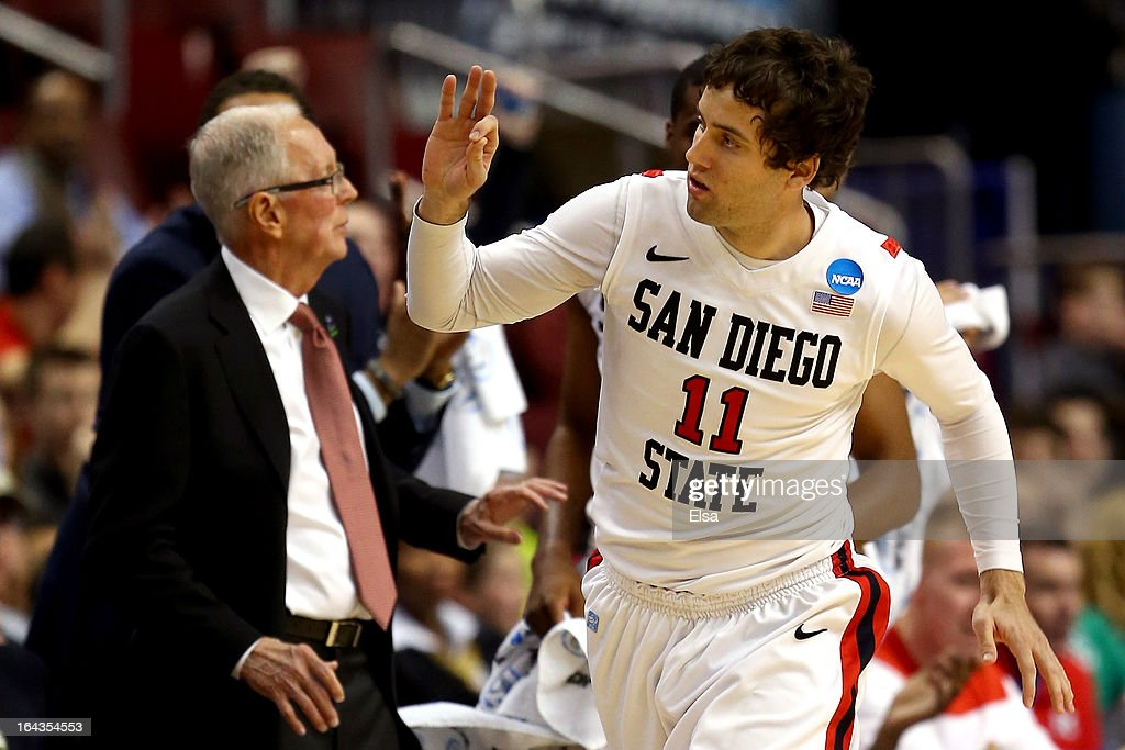 James Rahon #11 of the San Diego State Aztecs reacts after he made a 3-point shot in the second half against the Oklahoma Sooners during the second round of the 2013 NCAA Men's Basketball Tournament at Wells Fargo Center on March 22, 2013 in Philadelphia, Pennsylvania.