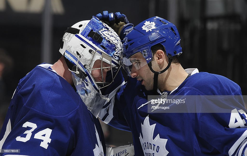 James Reimer #34 and <a gi-track='captionPersonalityLinkClicked' href=/galleries/search?phrase=Nazem+Kadri&family=editorial&specificpeople=4043234 ng-click='$event.stopPropagation()'>Nazem Kadri</a> #43 of the Toronto Maple Leafs celebrate the team's win over the Ottawa Senators during NHL game action March 6, 2013 at the Air Canada Centre in Toronto, Ontario, Canada.
