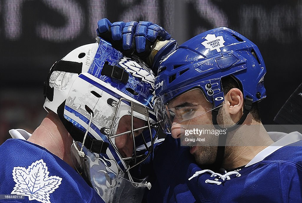James Reimer #34 and <a gi-track='captionPersonalityLinkClicked' href=/galleries/search?phrase=Nazem+Kadri&family=editorial&specificpeople=4043234 ng-click='$event.stopPropagation()'>Nazem Kadri</a> #43 of the Toronto Maple Leafs celebrate the teams win over the Boston Bruins during NHL game action March 23, 2013 at the Air Canada Centre in Toronto, Ontario, Canada.