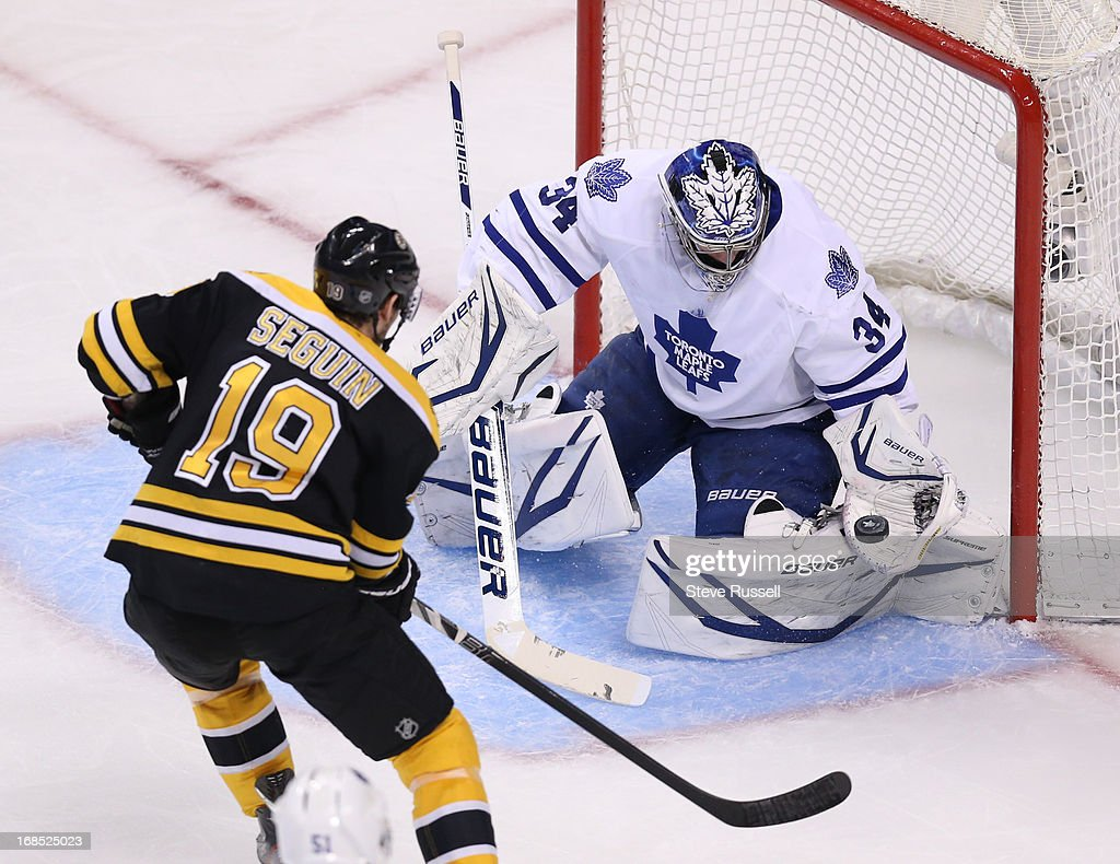 BOSTON, MA - MAY 10 - James Reimer makes a glove save on Tyler Seguin as the Toronto Maple Leafs play the Boston Bruins in game 5 of their first round NHL Stanley Cup playoffs series at TD Garden in Boston, May 10, 2013.
