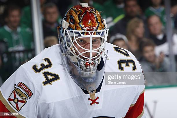 James Reimer of the Florida Panthers tends goal against the Dallas Stars at the American Airlines Center on December 31 2016 in Dallas Texas