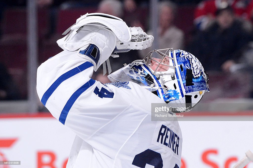 James Reimer #34 of the Toronto Maple Leafs celebrates his shutout victory over the Montreal Canadiens during the NHL game at the Bell Centre on February 9, 2013 in Montreal, Quebec, Canada. The Maple Leafs defeated the Canadiens 6-0.