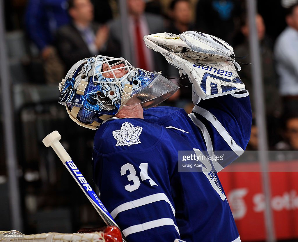 James Reimer #34 of the Toronto Maple Leafs celebrates his win against the the Dallas Stars during game action on November 2, 2015 at Air Canada Centre in Toronto, Ontario, Canada.