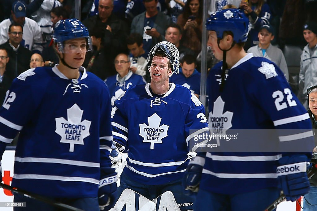 James Reimer #34 of the Toronto Maple Leafs celebrates the shootout win against the Washington Capitals during NHL action at the Air Canada Centre November 23, 2013 in Toronto, Ontario, Canada.