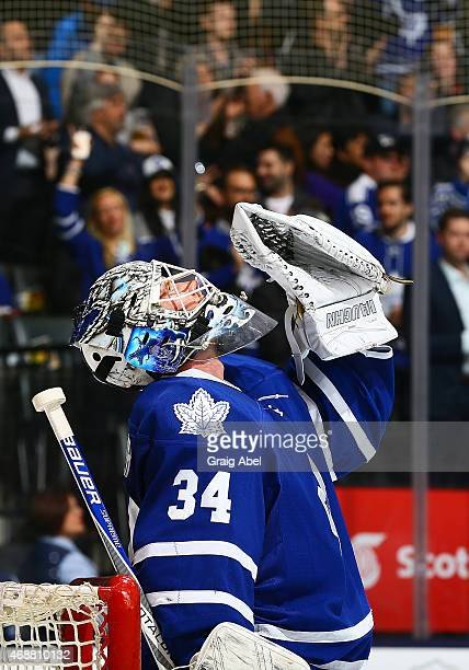 James Reimer of the Toronto Maple Leafs celebrates the win against the Tampa Bay Lightning during game action on March 31 2015 at Air Canada Centre...