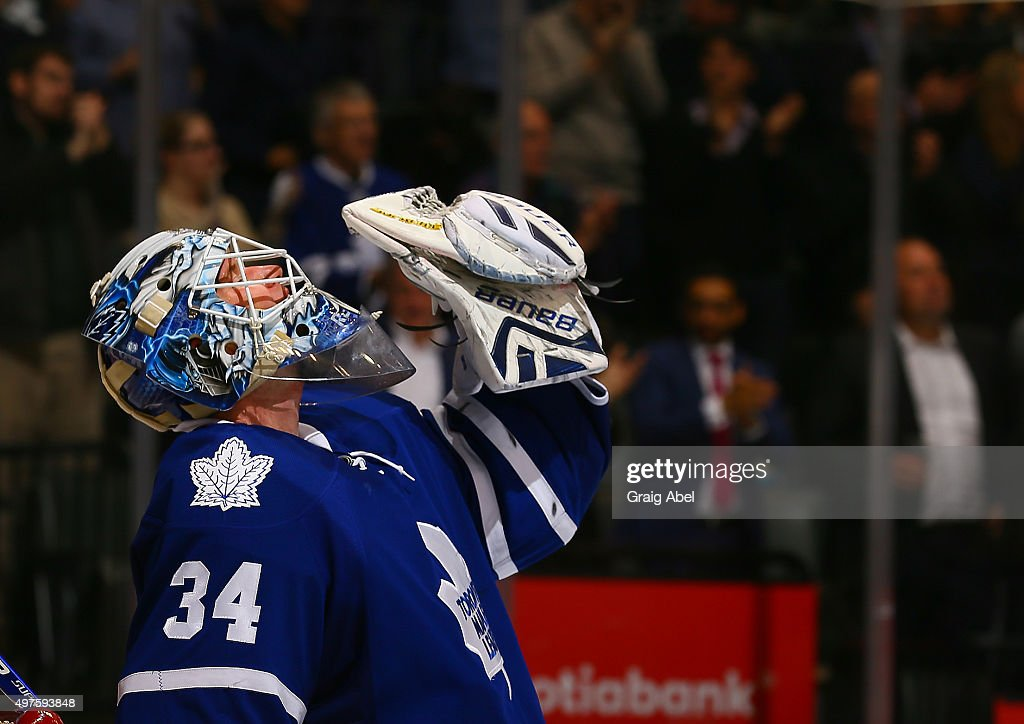 James Reimer #34 of the Toronto Maple Leafs celebrates the win against the Colorado Avalanche during game action on November 17, 2015 at Air Canada Centre in Toronto, Ontario, Canada.