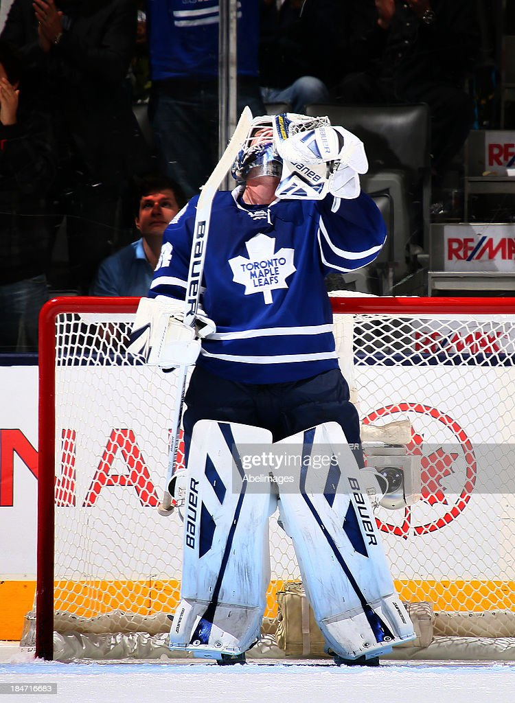 James Reimer #34 of the Toronto Maple Leafs celebrates the win over the Minnesota Wild during NHL action at the Air Canada Centre October 15, 2013 in Toronto, Ontario, Canada.