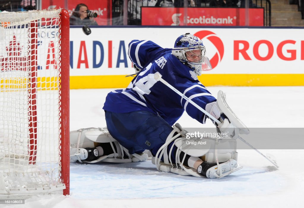 James Reimer #34 of the Toronto Maple Leafs defends the goal during NHL game action against the New Jersey Devils March 4, 2013 at the Air Canada Centre in Toronto, Ontario, Canada.