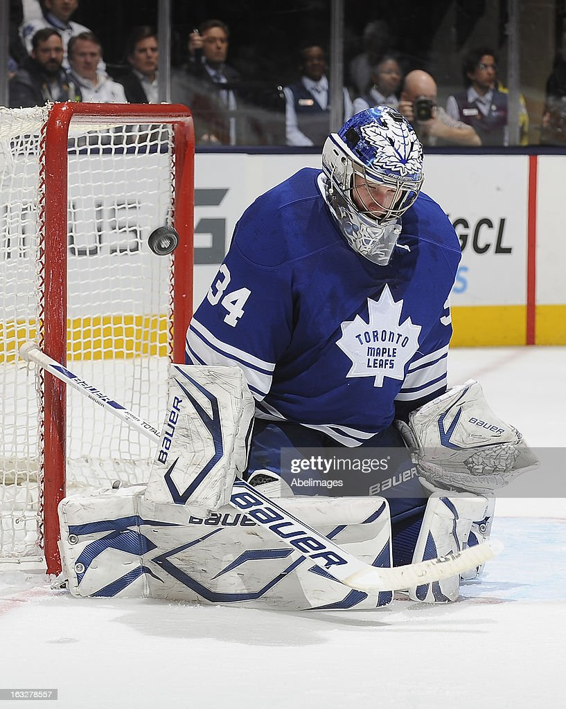 James Reimer #34 of the Toronto Maple Leafs defends the goal during NHL game action against the Ottawa Senators March 6, 2013 at the Air Canada Centre in Toronto, Ontario, Canada.