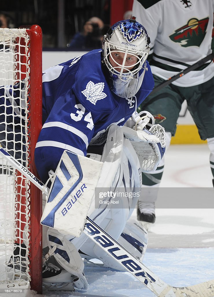 James Reimer #34 of the Toronto Maple Leafs defends the goal during NHL game action against the Minnesota Wild October 15, 2013 at Air Canada Centre in Toronto, Ontario, Canada.