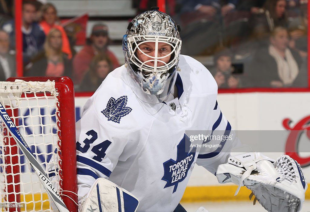 <a gi-track='captionPersonalityLinkClicked' href=/galleries/search?phrase=James+Reimer+-+Hockey+Player&family=editorial&specificpeople=7543302 ng-click='$event.stopPropagation()'>James Reimer</a> #34 of the Toronto Maple Leafs guards his net against the Ottawa Senators at Canadian Tire Centre on January 21, 2015 in Ottawa, Ontario, Canada.