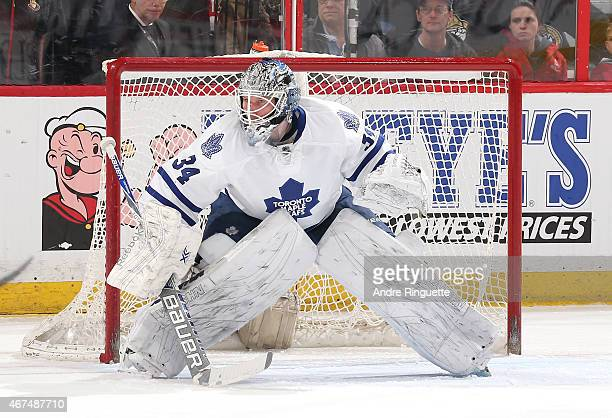 James Reimer of the Toronto Maple Leafs guards his net against the Ottawa Senators at Canadian Tire Centre on March 21 2015 in Ottawa Ontario Canada