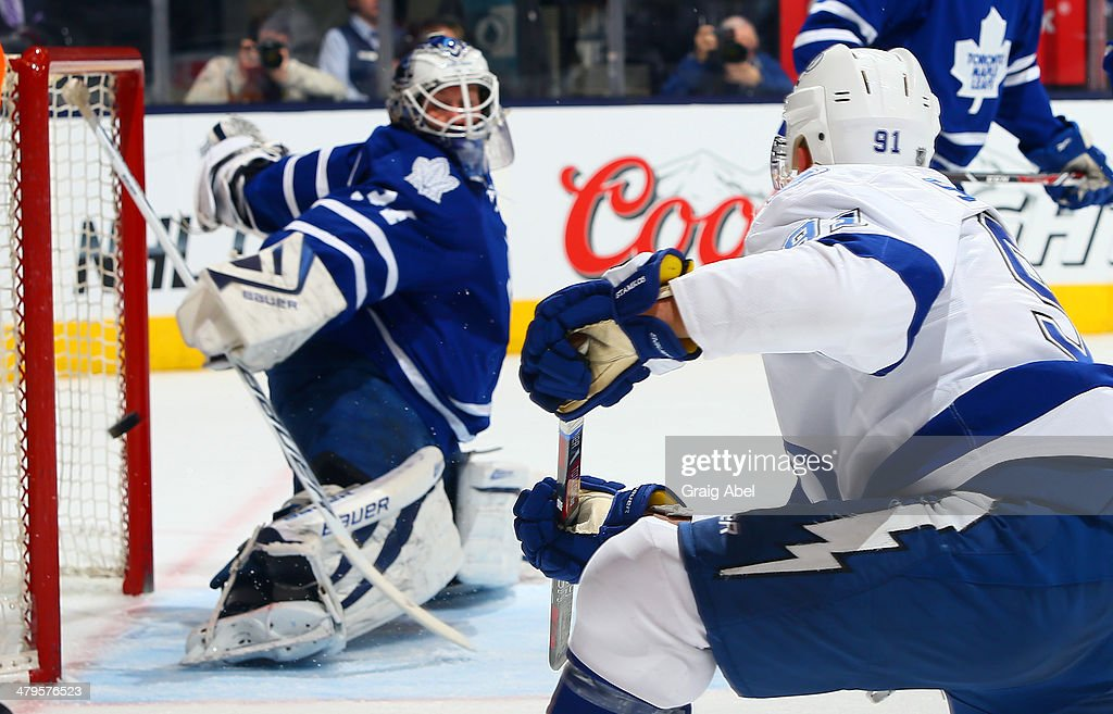 ca8bbc491 James Reimer 34 of the Toronto Maple Leafs is scored on by Steven 2014  Winter Classic Jerseys ...