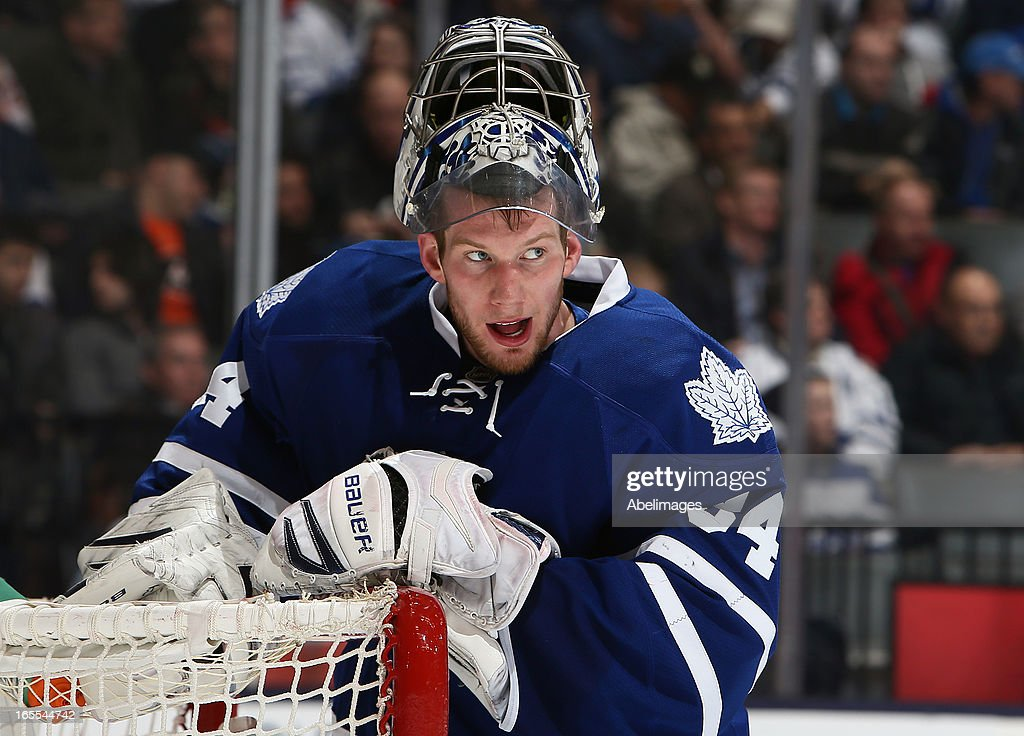 James Reimer #34 of the Toronto Maple Leafs looks for help after the 4th Philadelphia Flyers goal during NHL action at the Air Canada Centre April 4, 2013 in Toronto, Ontario, Canada.