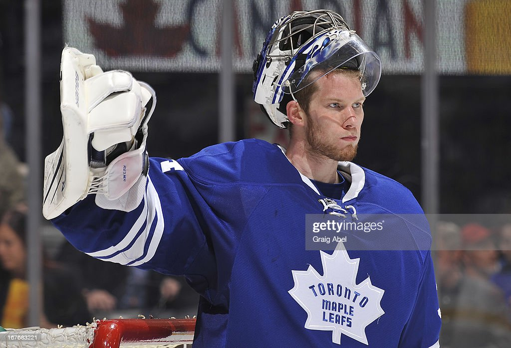 James Reimer #34 of the Toronto Maple Leafs looks on after giving up a third period goal during NHL game action against the Montreal Canadiens April 27, 2013 at the Air Canada Centre in Toronto, Ontario, Canada.
