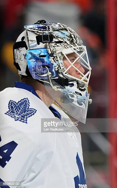 James Reimer of the Toronto Maple Leafs looks on against the Philadelphia Flyers on January 31 2015 at the Wells Fargo Center in Philadelphia...