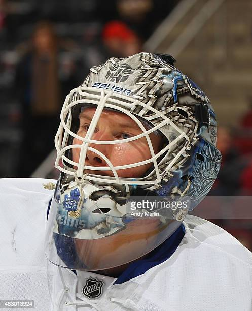 James Reimer of the Toronto Maple Leafs looks on during game action against the New Jersey Devils at the Prudential Center on February 6 2015 in...