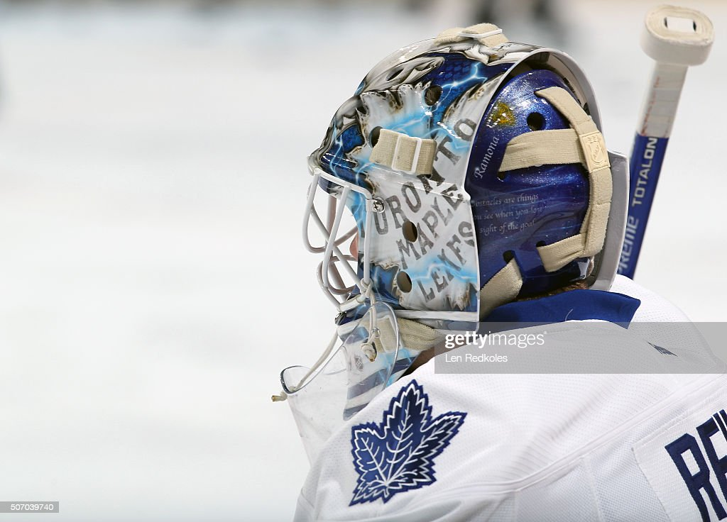 <a gi-track='captionPersonalityLinkClicked' href=/galleries/search?phrase=James+Reimer+-+Hockey+Player&family=editorial&specificpeople=7543302 ng-click='$event.stopPropagation()'>James Reimer</a> #34 of the Toronto Maple Leafs looks on during warm-ups prior to his game against the Philadelphia Flyers on January 19, 2016 at the Wells Fargo Center in Philadelphia, Pennsylvania.