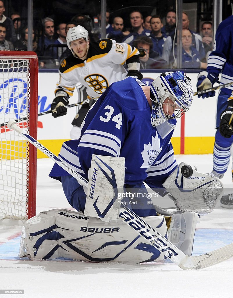 James Reimer #34 of the Toronto Maple Leafs makes a second period save with Tyler Seguin #19 of the Boston Bruins on the doorstep during NHL game action February 2, 2013 at the Air Canada Centre in Toronto, Ontario, Canada.